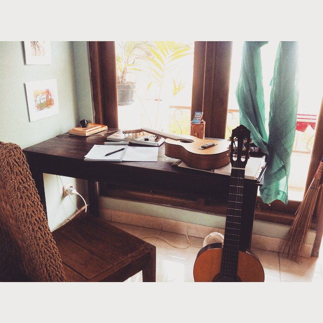 Getting my lyrics in order today at our house in Jogjakarta